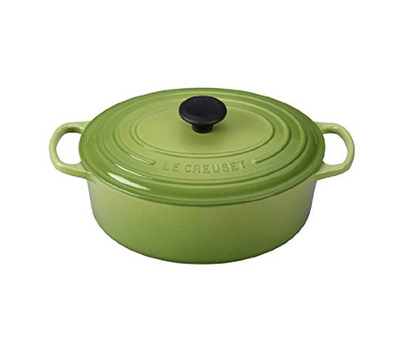 le creuset signature enameled cast iron 5 quart oval dutch oven palm citron. Black Bedroom Furniture Sets. Home Design Ideas